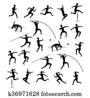Sports Athletes, Track and Field, Silhouette Set