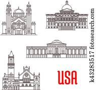USA architecture landmarks icons