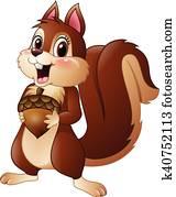 Cartoon funny squirrel holding pine