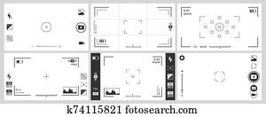 fotokamera, viewfinders., photographie, ui, zoom, einstellung, fokus, rahmen, und, digital, sucher, vektor, satz