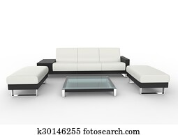 Room kussens op paarse sofa in hippe witte woonkamer met