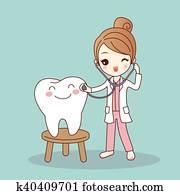 karikatur, zahnarzt, doktor, mit, zahn