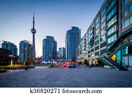 Modern buildings at the Harbourfront in Toronto, Ontario.