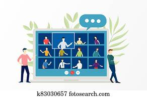People video conference virtual meeting discussion about business education online training school courses flat cartoon style