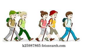 A group hiking