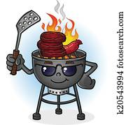 Barbecue Grill Cartoon Character