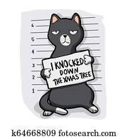 Grey cat - mugshot - cat cartoon