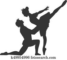 Pas de deux of ballet - sleeping beauty - silhouette