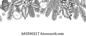 Xmas seamless green border. Horizontal banner with christmas tree branches garland, holly berries and toys, element for festive vector card