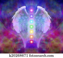 Angel wings and seven chakras