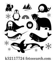 arktisch, tiere, silhouette, satz