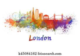 London V2 skyline in watercolor