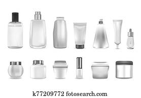 Realistic cosmetic or perfume containers. Mockup for cream and gel, shampoo and dispenser, spray and lotion.
