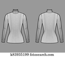 Turtleneck ribbed-knit sweater technical fashion illustration with long sleeves, close-fitting shape, tunic length.