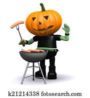 3d Pumpkin head cooks a barbeque