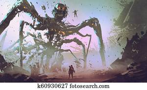 facing the giant spider robot