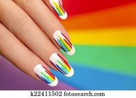 Rainbow manicure.