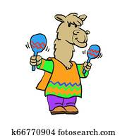 llama in a hat sings and plays on maracas