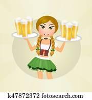 Oktoberfest blonde girl with beer