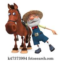 3d illustration an elderly farmer riding a horse