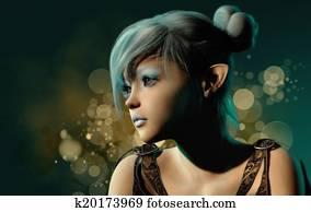 Blue Sylph Portrait, 3d CG