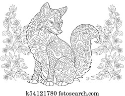 Fox and wildflowers