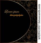 gold elements on black background card space for text perfect for invitation,wedding reception function