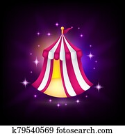 Pink and white tent icon, medieval fair, circus