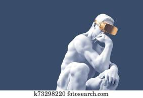 Sculpture Thinker With Golden VR Glasses Over Blue Background