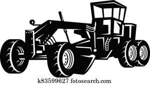 Vintage Road Grader Motor Grader or Blade Grading Retro Woodcut Black and White