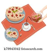 Illustration of delicious strawberry pie and herbal tea pouring in teacup from glass teapot held by hands. Cartoon tea party with homemade baking.