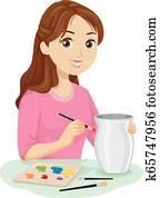 Teen Girl Ceramic Painting Illustration