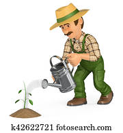 3D Gardener watering a small plant. Growth concept