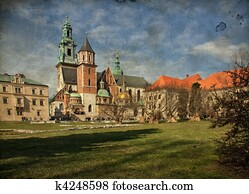 beautiful polish architecture from krakow city poland