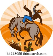 cowboy falling off horse in the desert done in retro woodcut style.