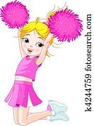 Cute cheerleading girl jumping in