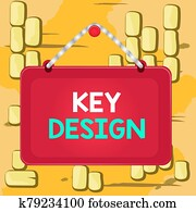 Word writing text Key Design. Business concept for a necessary or very important realization of a concept or idea Board fixed nail frame string striped colored background rectangle panel.
