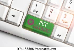 Word writing text Pet Grooming. Business concept for hygienic care and enhancing the appearance of the pets White pc keyboard with empty note paper above white background key copy space.