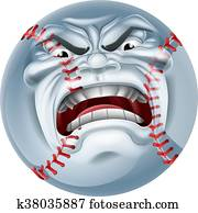 Angry Baseball Ball Sports Cartoon Mascot