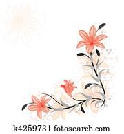 blumen-, element, für, design, mit, lily,, vektor