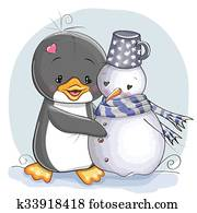 Penguin and snowman