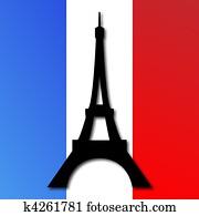 Eiffel Tower on a French Flag