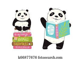Panda Bear Reading Books