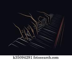 Spielen Klavier Clip Art und Illustrationen. 6.399 spielen ...