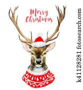 Watercolor christmas deer