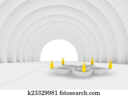 color flames and rest white diya in 3d