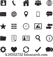 Contact icons on white background
