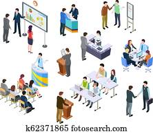 Isometric meeting. Business people on presentation conference. Team work process at table. 3d businessmen training vector set