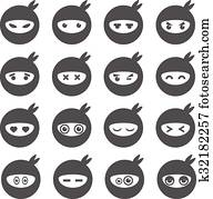 Ninja smiley face icons