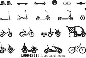 Set of various types children s vehicles and means of transportation on wheels